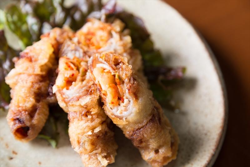 豚キムチの天ぷら